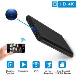 4K WIFI Power Bank Camera, SD Card Max 128G, Night Vision-1