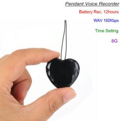 Pendant Voice Recorder, WAV 192Kbps, Build in 8G, Recording 12 hours - 1