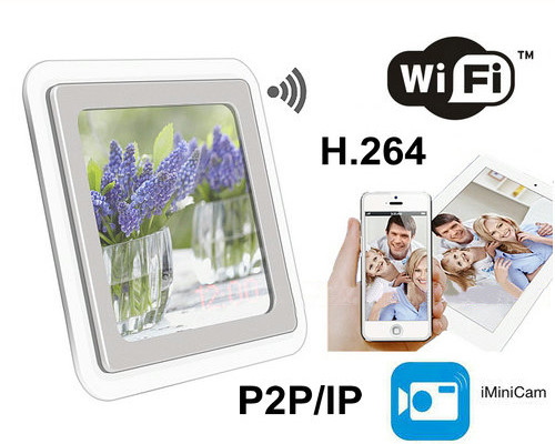 1080P H.264 WIFI Mirror Clock Camera, Mana APP, Card TF, Rapu Motion - 1