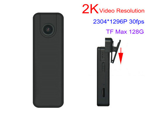 2K Mini Body Worn Camera, 2304x1296p, H.264, Kaadi SD 128GB - 1