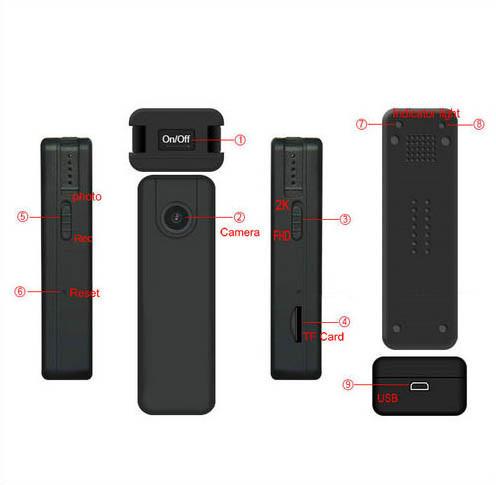2K מיני גוף בלאי מצלמה, 2304x1296p, H.264, כרטיס SD מקס 128GB - 7