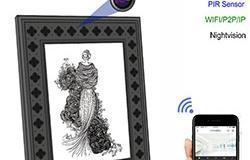 720P HD-valokuvakehys Wi-Fi-piilotettu kamera PIR-liikkeentunnistuksella - 1 250px