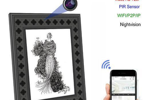 720P HD Photo Frame Wi-Fi Hidden Camera with PIR Motion Detection - 1