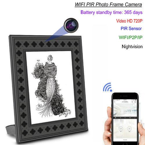 720P HD -valokuvakehys Wi-Fi-piilotettu kamera PIR-liikkeentunnistuksella - 1