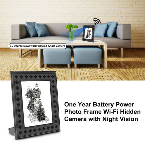 720P HD Photo Frame Wi-Fi Hidden Camera with PIR Motion Detection - 2