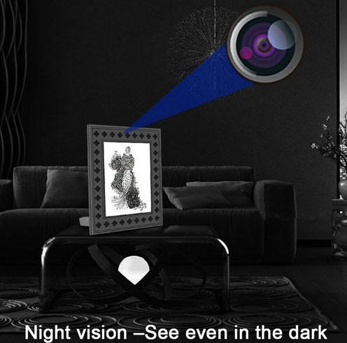 पीआयआर मोशन डिटेक्शनसह 720P एचडी फोटो फ्रेम वाय-फाय लपविलेले कॅमेरा - 6
