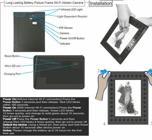 720P HD Фоторамкаи Wi-Fi Камераҳои пинҳонӣ бо PIR Motion Detection - 7