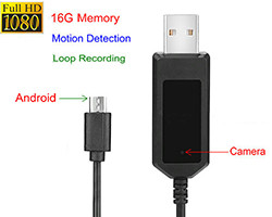 Apple/Android Charging Cable Camera, 1080P, Motion Detection, Loop Recording, 16G (SPY193)