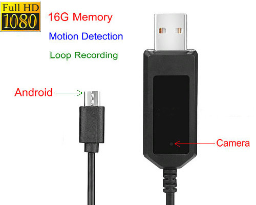 Apple,android Charging Cable Camera,1080P, Motion Detection, Loop Recording, 16G - 1
