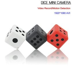 Dice Mini Camera, Motion Detection, 1080P 30fps, Nightvision, SD-kort Max 32G - 1