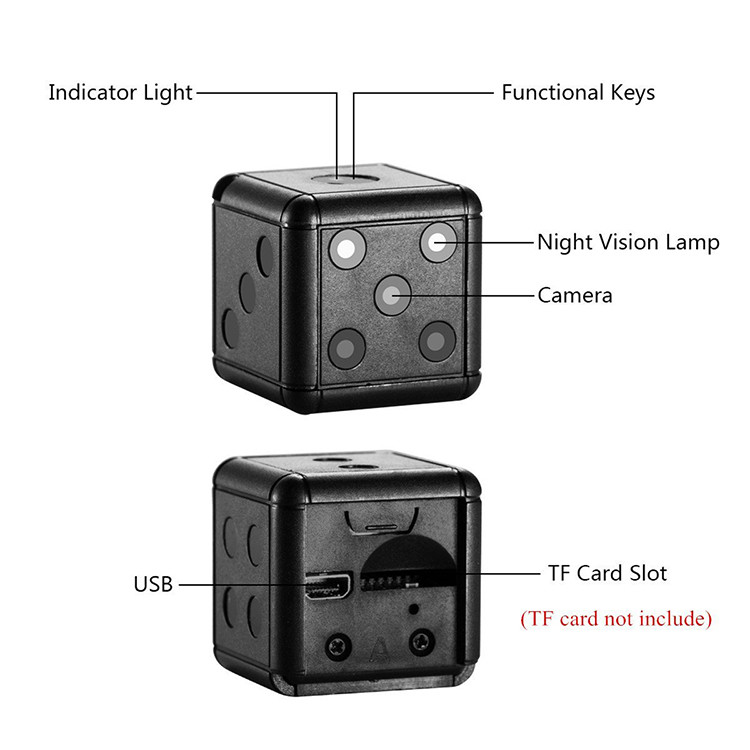 Dice Mini Camera, Motion Detection, 1080P 30fps, Nightvision, SD Card Max 32G - 16