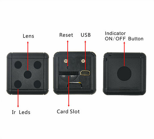 Dice Mini Camera, Motion Detection, 1080P 30fps, Nightvision, SD Card Max 32G - 4