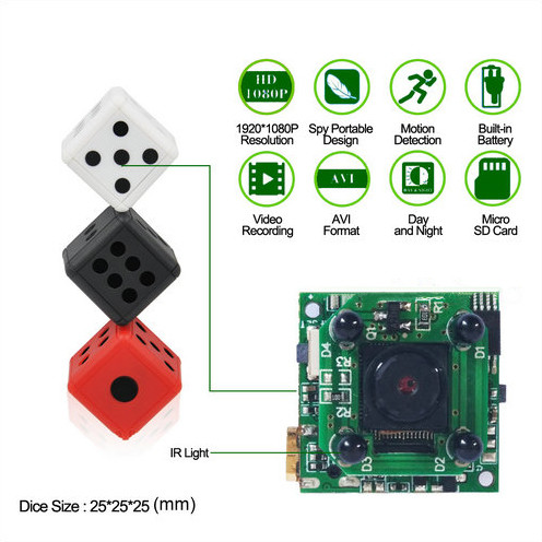 Dice Mini Camera, Motion Detection, 1080P 30fps, Nightvision, SD Card Max 32G - 8