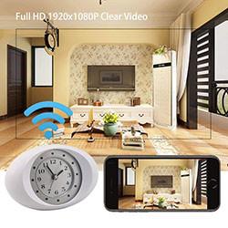 Nakatagong Spy Camera 1080P HD Wireless Wifi IP Camera White Clock (SPY206) - S $ 288