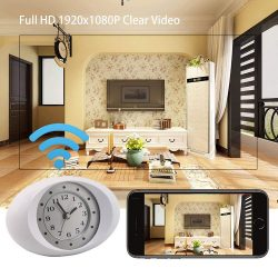 Spy Camera Hidden Camera 1080P HD Wireless Wifi IP Camera White Clock-1