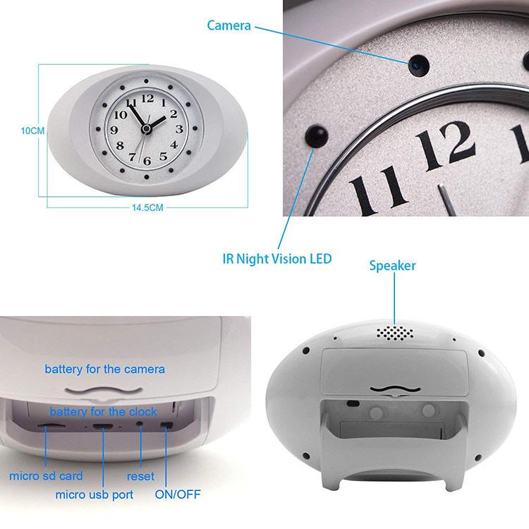 Թաքնված լրտեսական տեսախցիկ 1080P HD Wireless WiFi IP Camera Սպիտակ Ժամացույց - 3