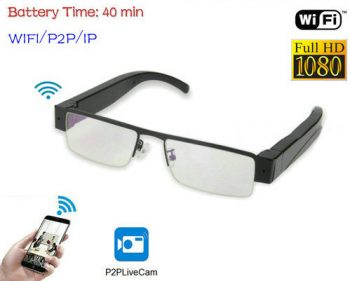WIFI brilles kamera, HD 1080P, WIFI, P2P, IP-1