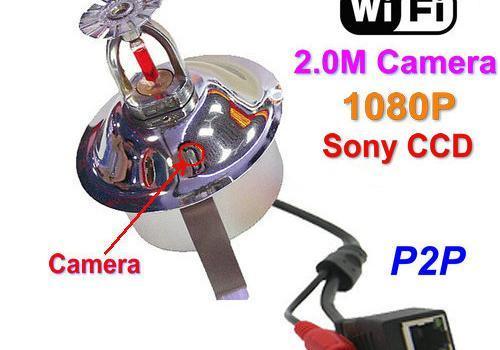WIFI,IP Fire Sprinkler Camera, 2.0MP Camera, POE, Audio, Sony CCD,1080P - 1