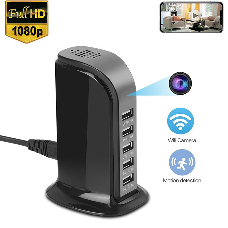 WiFi Spy Hidden 5-USB Port Charger Camera, Motion Detection, Loop Record, Phone Charging - 1