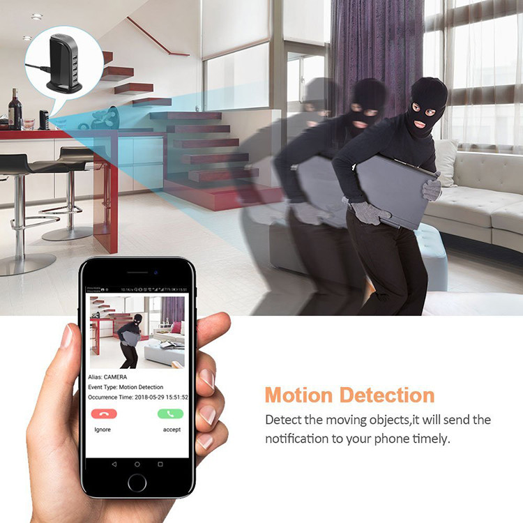 WiFi Spy Hidden 5-USB Port Charger Camera, Motion Detection, Loop Record, Phone Charging - 2