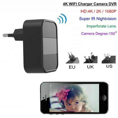 4K WIFI Charger Camera, Nightvision, HD4K,2K,1080P, SD Max 64G - 1