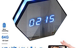 Hexagon Shape Wall Desk Table Clock Hidden Spy Camera - 1 250px