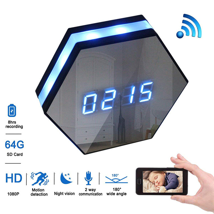 Hexagon Shape Wall Desk Table Clock Hidden Spy Camera - 1
