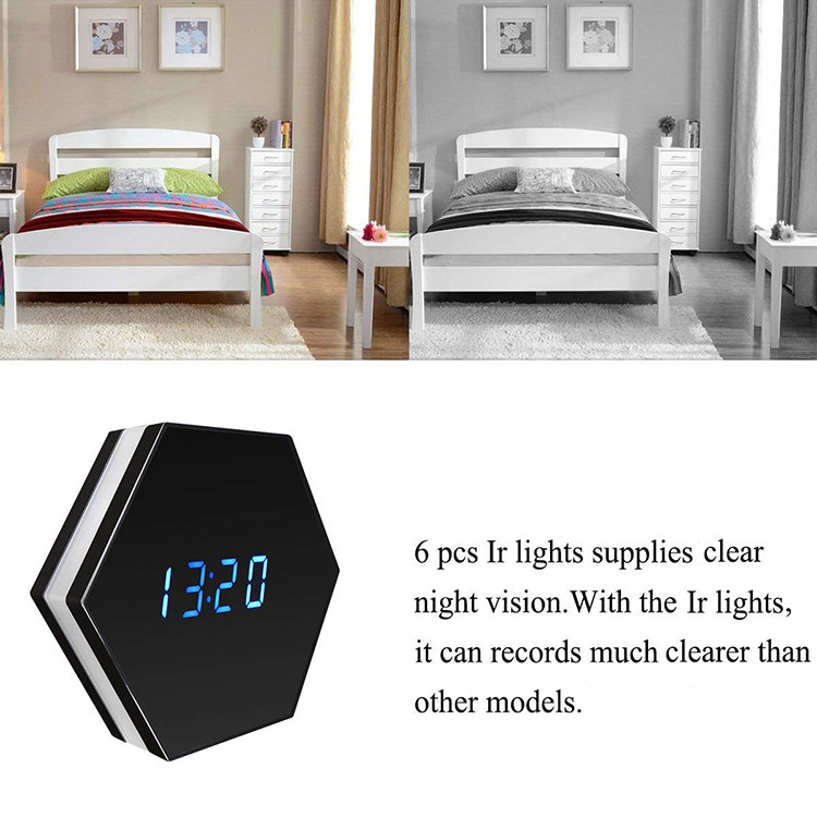 Hexagon Shape Wall Desk Table Clock Hidden Spy Camera - 3
