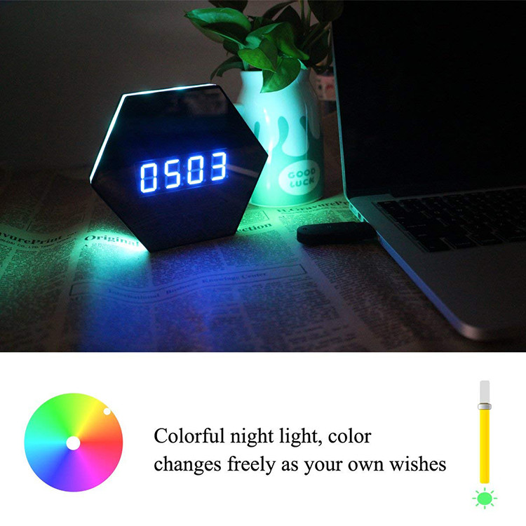 Hexagon Shape Wall Desk Table Clock Hidden Spy Camera - 6