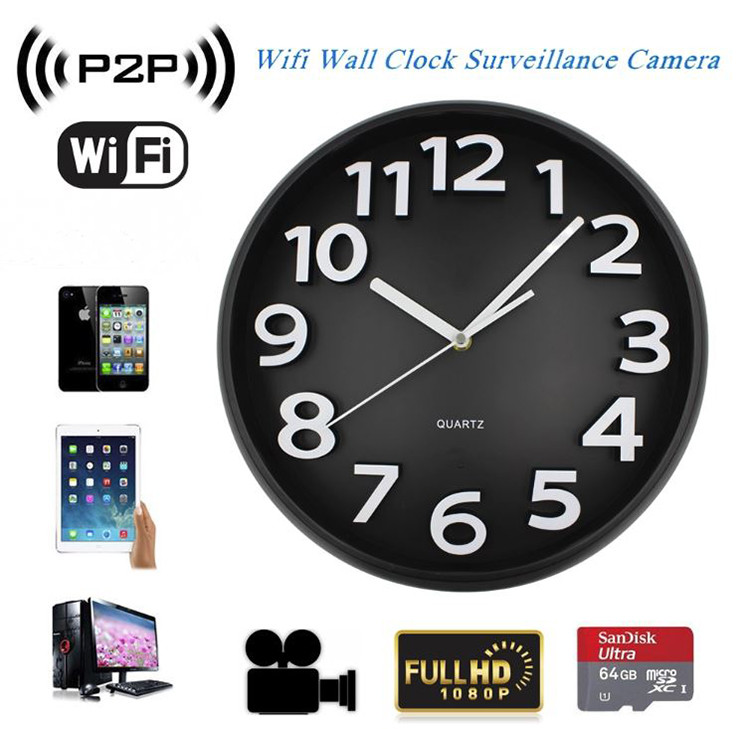 Home Decoration Wifi Wall Hidden Spy Camera Clock - 2