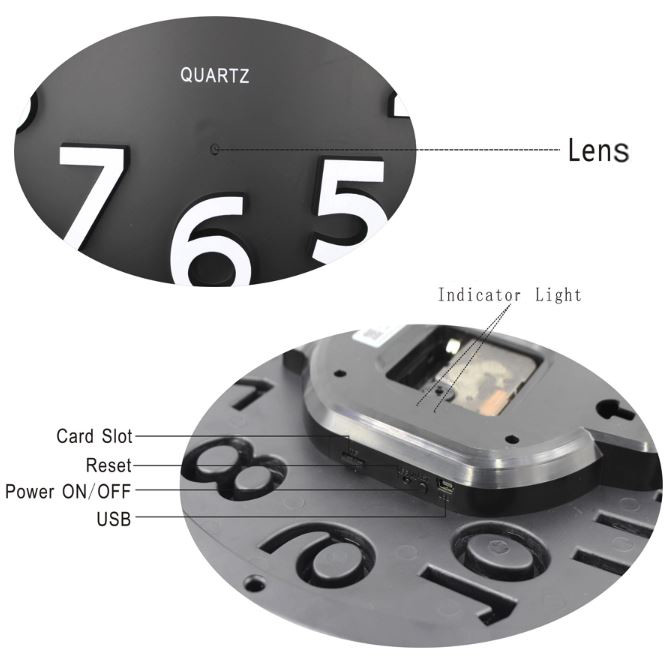 Home Decoration Wifi Wall Hidden Spy Camera Clock - 8