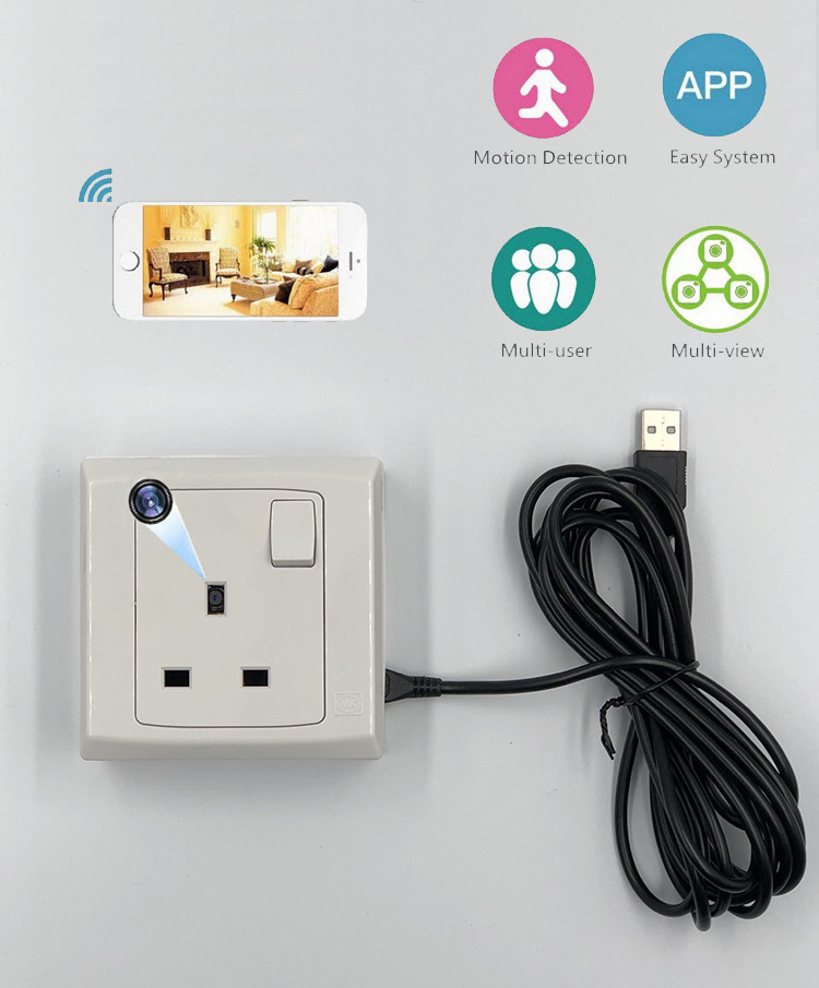 Single Gang WIFI Wall Moulded Socket Outlet SPY Hidden Camera - 1
