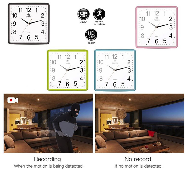 Square Wall Clock Spy Hidden Camera - 2