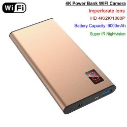 WIFI 4K Power Bank Kamera, Nightvision, HD4K, 2K, 1080P, SD Max 64G - 1