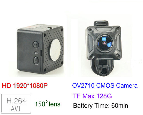 150 Degree Mini Camera, HD1080P, 30fps, SD Max 128g, Battery 60min - 1
