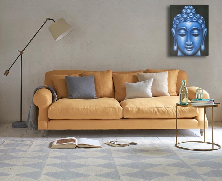 Blue Buddha Face - Oil Paint Spy Hidden Camera, 36 Hrs recording - sofa