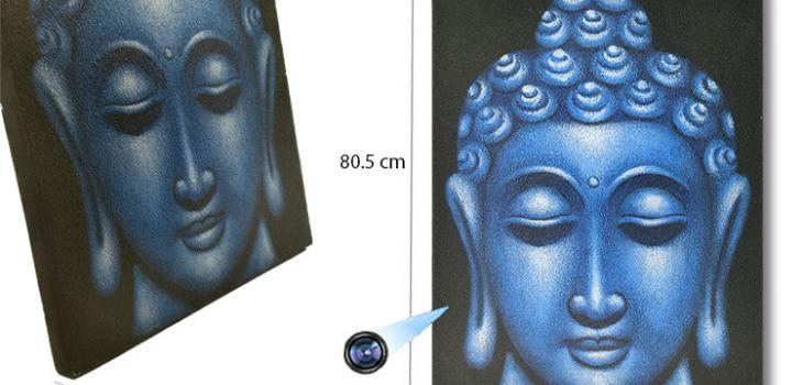 Large Blue Buddha Face Oil Paint Spy Hidden Camera - 1