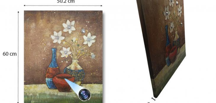 SPY232I - Flower Vase Oil Paint Spy Hidden Camera - 1