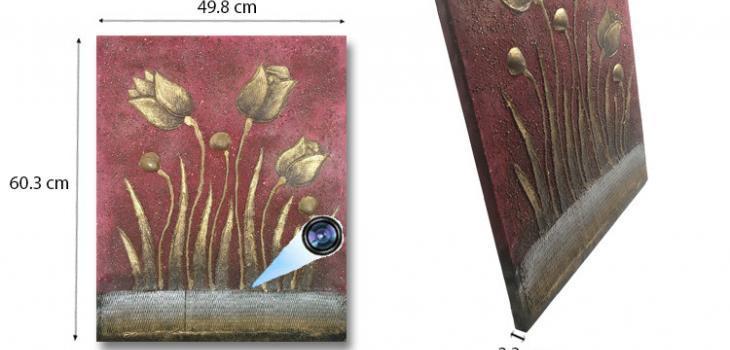 SPY232K - Gold Flower Oil Paint Spy Hidden Camera - 1