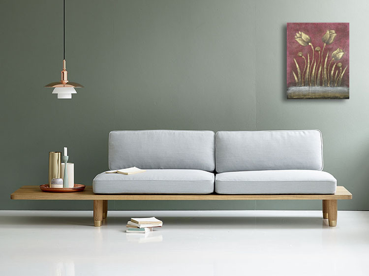 SPY232K - Gold Flower Oil Paint Spy Hidden Camera - sofa