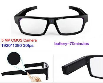 Spectacles Spy Camera DVR, 5.0MP CMOS1080P30fps 120Degree - 1