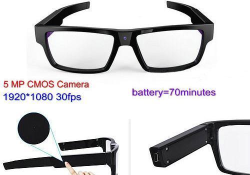 Spectacles Spy Camera DVR,5.0MP CMOS1080P30fps 120Degree - 1