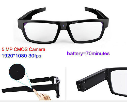 Spectacles Spy Camera DVR,5.0MP CMOS1080P30fps 120Degree - 1