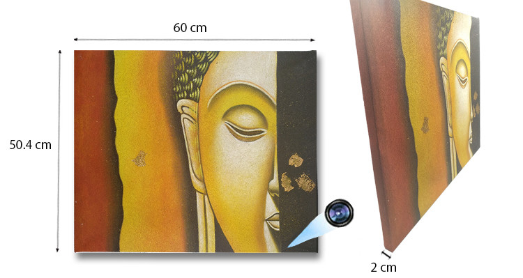 Yellow Buddha Face Oil Paint Spy Hidden Camera - 1