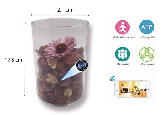 SPY238D - Dofta Cylinder Vase Hidden Spy Camera