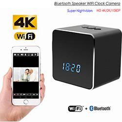 Piilotettu vakoilukamera WIFI-Bluetooth-kaiutin / kello, HD-video 2K / 1080P, yönäkymä (SPY248) - S $ 278