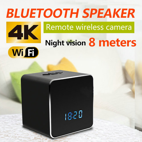 Efihliweyo I-Spy Camera Ikhamera yeWIFI I-Bluetooth Speaker Clock, i-Nightvision-2