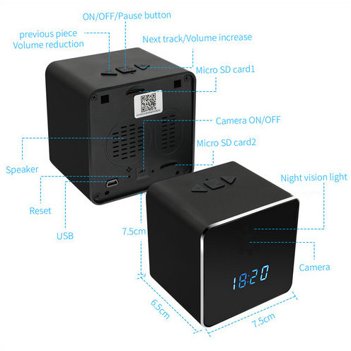 Hidden Spy Camera WIFI Bluetooth Speaker Clock, Nightvision - 5