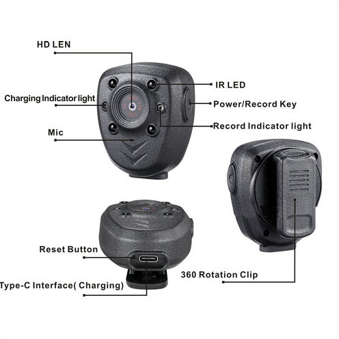 Clip Camera DVR, Super Nightvision, akku Rec 4hours, rakentaa 16G - 4