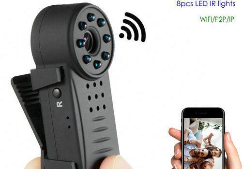 Clip WIFI SPY Hidden Wide Lens Camera, Nightvision, SD Max 64G, 300mAh battery - 1